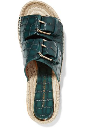 PALOMA BARCELÓ Rachele embellished croc-effect leather espadrille sandals