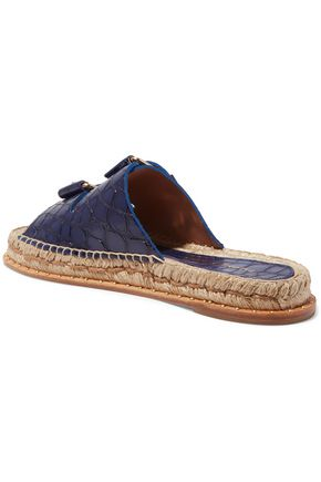 PALOMA BARCELÓ Rachele buckled croc-effect leather espadrilles