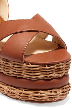 PALOMA BARCELÓ Violette woven and leather platform sandals
