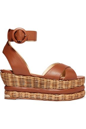 PALOMA BARCELÓ Violette woven and leather platform sandals
