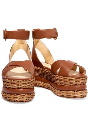 PALOMA BARCELÓ Violette leather and wicker platform sandals