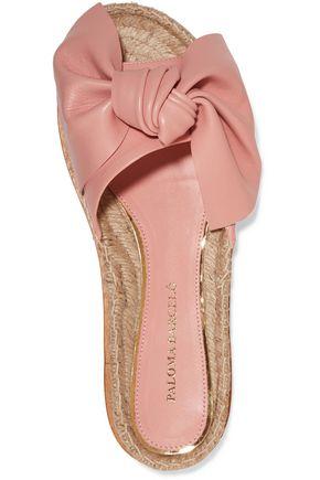 PALOMA BARCELÓ Xena bow-embellished leather espadrille slides