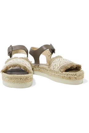 PALOMA BARCELÓ Aurora fringed paneled leather and woven canvas sandals