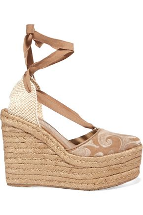 PALOMA BARCELÓ Dali embroidered suede espadrille wedge sandals