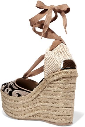 PALOMITAS by PALOMA BARCELÓ Dali embroidered suede espadrille wedge sandals
