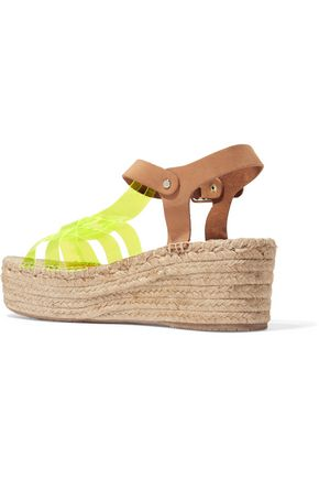 PALOMA BARCELÓ Neon yellow and suede espadrille wedge sandals