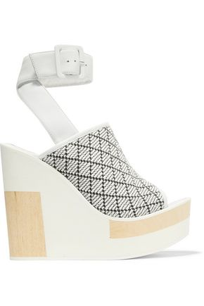 Javiera Leather And Woven Canvas Wedges by Paloma BarcelÓ