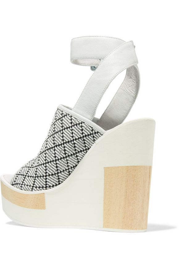 Javiera leather and woven canvas wedges | PALOMA BARCELÓ | Sale up to 70%  off | THE OUTNET