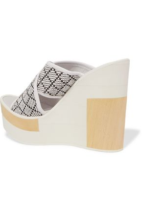PALOMA BARCELÓ Julia leather and woven canvas wedges