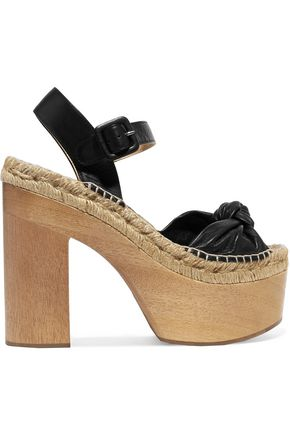 PALOMITAS by PALOMA BARCELÓ Lola knotted textured-leather platform sandals