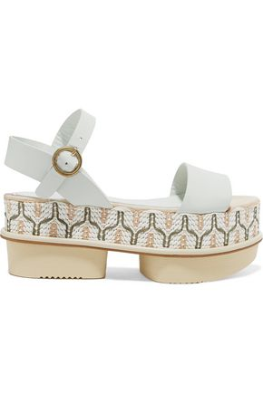 PALOMA BARCELÓ Ramira leather and woven raffia platform sandals