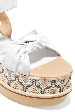 PALOMA BARCELÓ Rosita leather and woven raffia platform sandals