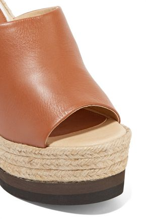 PALOMA BARCELÓ Winter leather espadrille wedge sandals