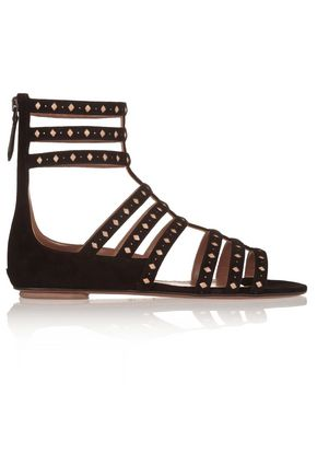 ALAÏA Laser-cut suede and leather sandals