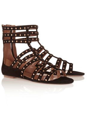 ALAÏA Laser-cut suede and leather sandals