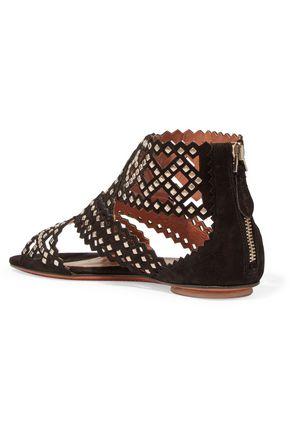 ALAÏA Stud-embellished laser-cut suede sandals
