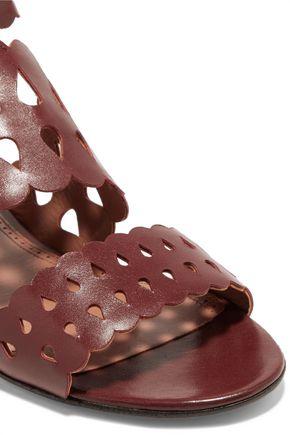 ALAÏA Raffia-trimmed laser-cut leather sandals
