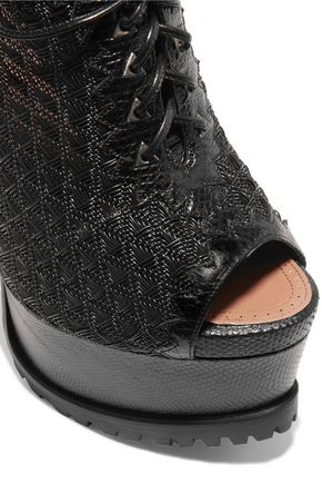 ALAÏA Lace-up snake-effect leather and woven rubber platform pumps