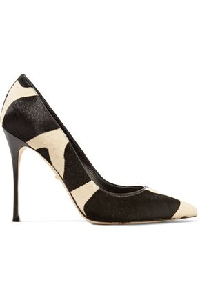 SERGIO ROSSI Two-tone printed calf hair pumps