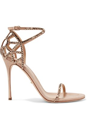SERGIO ROSSI Royal Strass crystal-embellished suede sandals