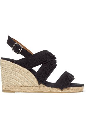 CASTAÑER Fringed canvas espadrille wedge sandals