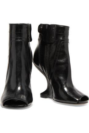 RICK OWENS Cutout glossed-leather ankle boots