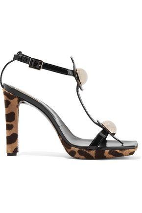 ROGER VIVIER Embellished leopard-print calf hair sandals