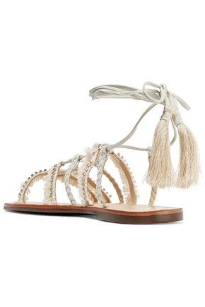 SCHUTZ Jolina fringed crystal-embellished leather sandals