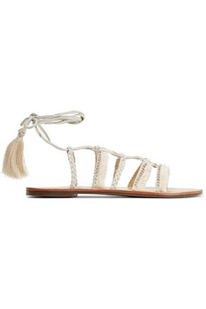 SCHUTZ Jolina fringed crystal-embellished leather sandals