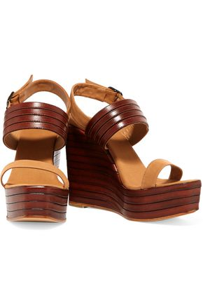 CASTAÑER Leather and canvas wedge sandals
