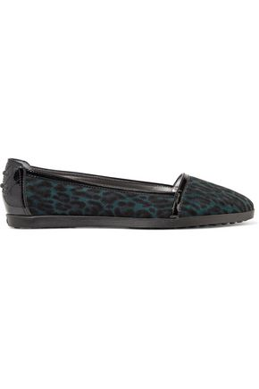 TOD'S Patent leather-trimmed leopard-print suede ballet flats