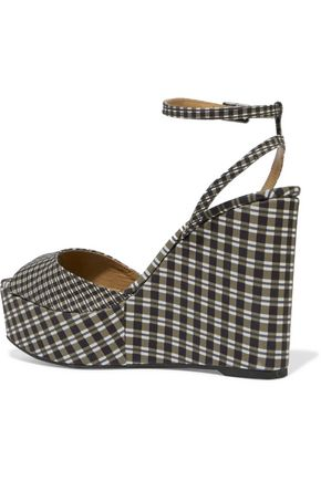 CASTAÑER Zula gingham canvas wedge sandals