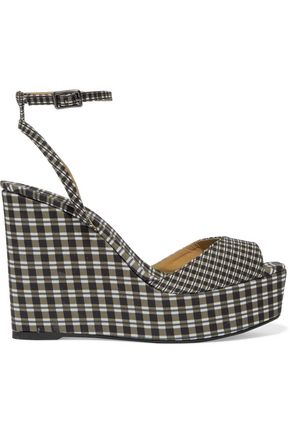 CASTAÑER Gingham canvas wedge sandals