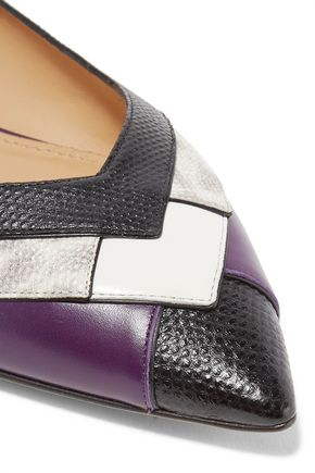 SALVATORE FERRAGAMO Ginella paneled smooth and snake-effect leather point-toe flats