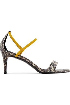SANDRO Suede-trimmed snake-effect leather sandals