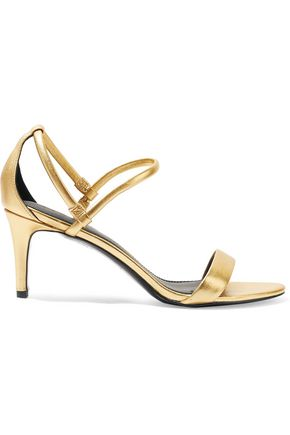 SANDRO Metallic textured-leather sandals
