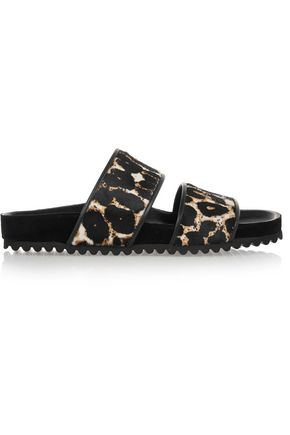 SANDRO Andy leopard-print calf hair sandals