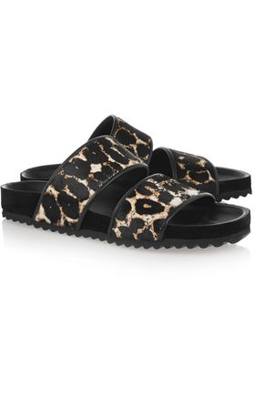 SANDRO Andy leopard-print calf hair sandals