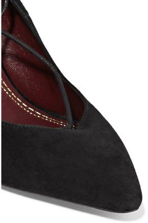 MAJE Lace-up suede pumps