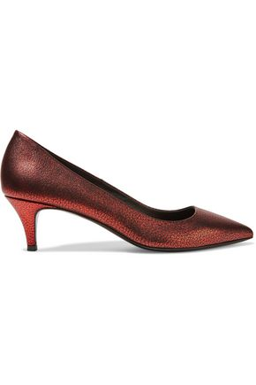 MAJE Metallic cracked-leather pumps