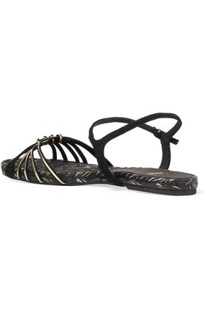 CASTAÑER Ianna metallic leather and suede sandals