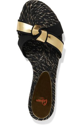 CASTAÑER Ildu metallic leather and denim espadrille sandals
