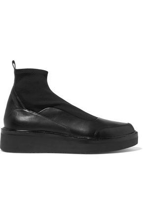 DKNY Karen stretch knit-paneled leather ankle boots