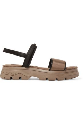 DKNY Addie canvas-paneled leather sandals