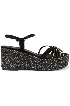 CASTAÑER Nalia metallic leather and suede espadrille wedge sandals
