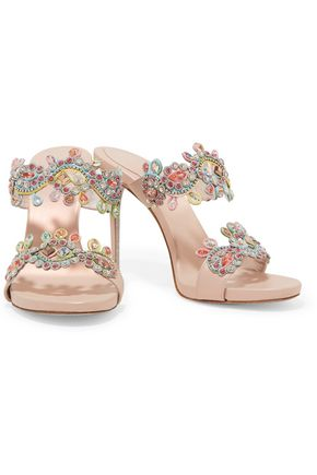 RENE' CAOVILLA Crystal-embellished embroidered leather sandals