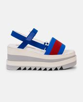 Blue & Red Striped Platform Slide Sandals