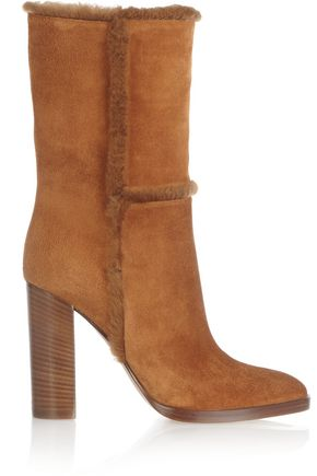 GIANVITO ROSSI Shearling-trimmed suede boots