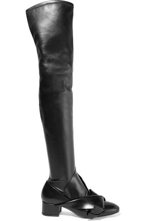 N° 21 Knotted stretch-leather over-the-knee boots