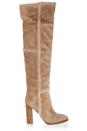 GIANVITO ROSSI Shearling-trimmed suede over-the-knee boots